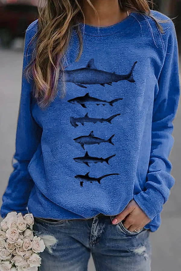 Sea Creatures Shark Print Casual Sweatshirt