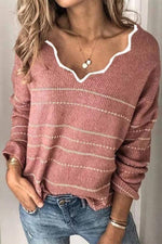 Striped Lace V-neck Casual Knitted Sweaters