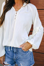 Solid Casual V Neck Blouse