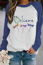 Three Gradient Dragonfly With Believe Letter Print Raglan Sleeves Color-block Sweatshirt