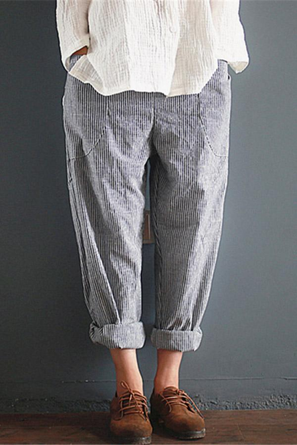 Casual Striped Plus Size Harem Pants