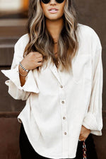 Classic Solid Paneled Pocket Buttons Down Shirt Collar Blouse