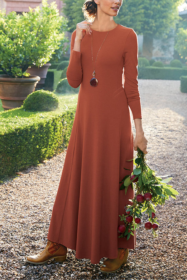 Casual Solid Round Maxi Dress
