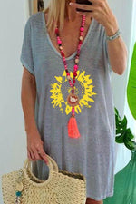 Sunflower Print V-neck Short Sleeve Casual T-shirt