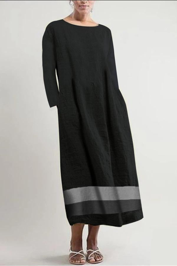 Linen Striped Long Sleeve Pocket Maxi Dress