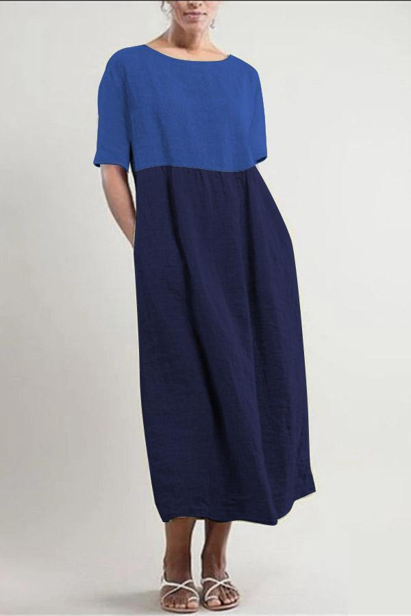 Colora Block Linen Half Sleeve Midi Dress
