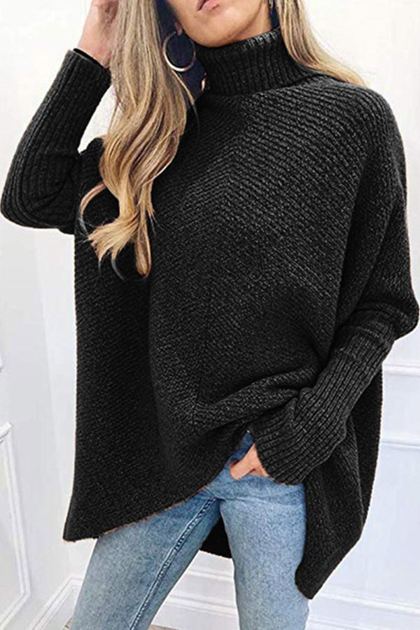 Solid High Neck Irregular Hem Knitted Sweaters