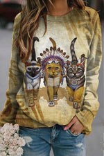 Vintage Gradient Indian Walking Cat Print Sweatshirt