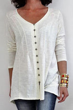 Paneled Solid Buttons Down V-neck Casual T-shirt