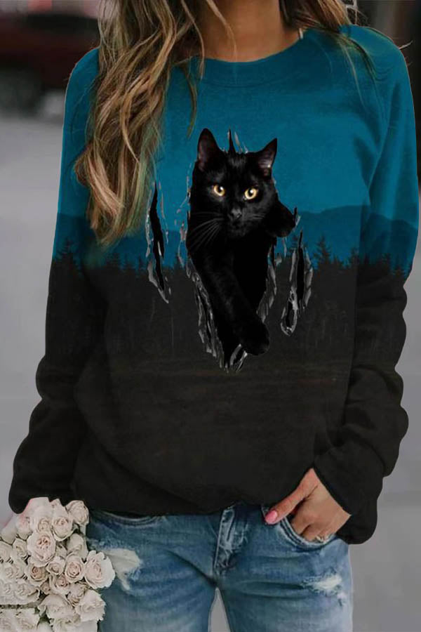 Women Lifelike Black Cat Jacquard Color-block Gradient Treetop Forest T-shirt