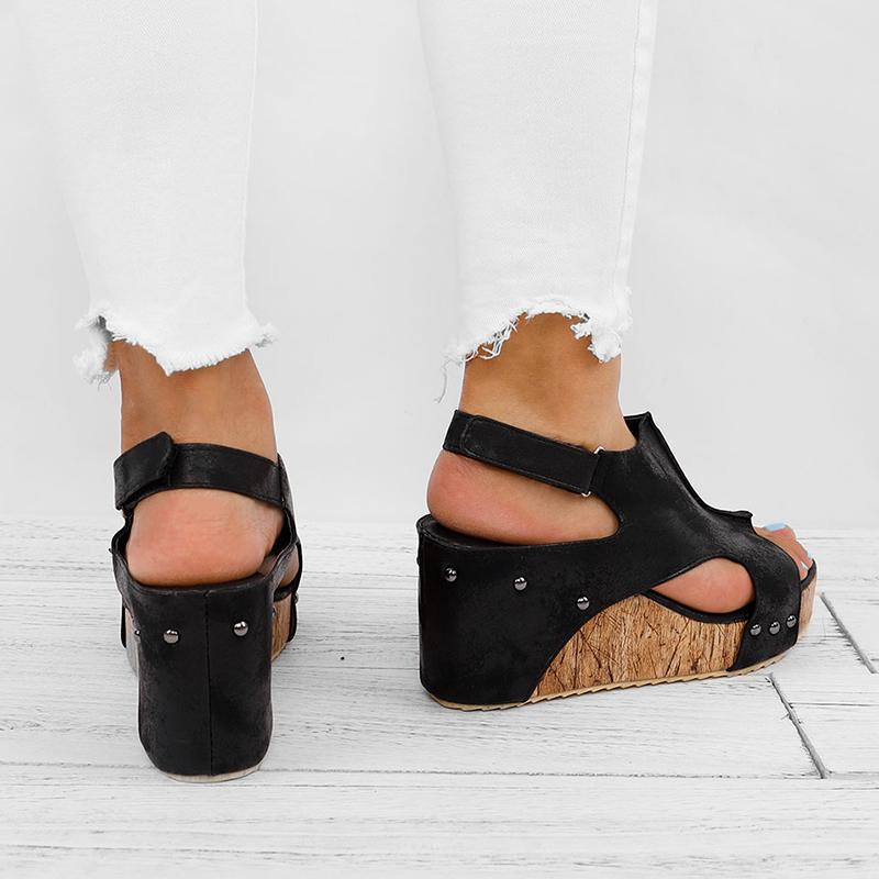 Retro Peep Toe Thick Wedge Sandals
