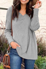 Casual V Neck Long Sleeves T-shirt