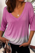 Gradient Print Paneled V-neck Casual Half Sleeves T-shirt