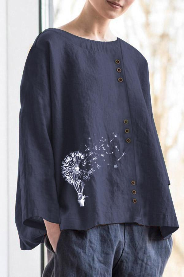 Vintage Buttoned Long Sleeves Floral Linen T-shirts