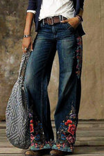 Retro Floral Print Paneled Side Pockets Wide Leg Jeans
