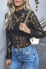 Sexy Floral Lace Hollow Out Stand Black Blouse