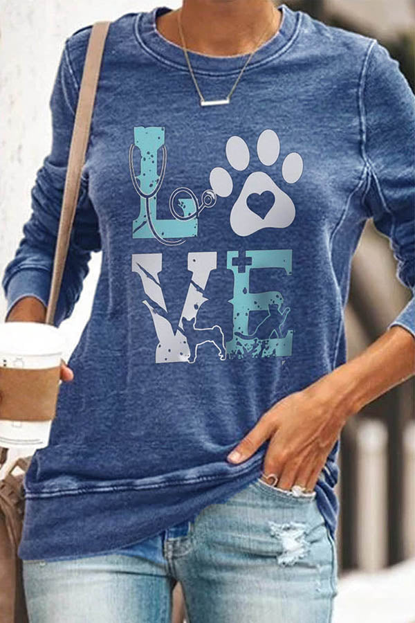 Love Footprint Print Dog Cat Cartoon Casual T-shirt