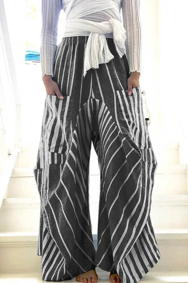 Vintage Striped Print Paneled Side Pockets Wide Leg Pants