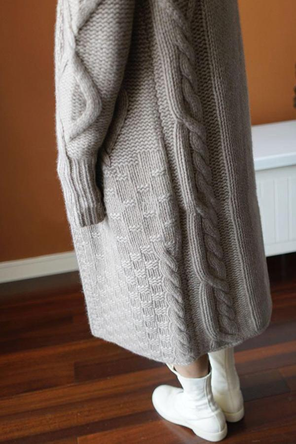 Solid Hemp Tweed Hooded Knitted Cardigan