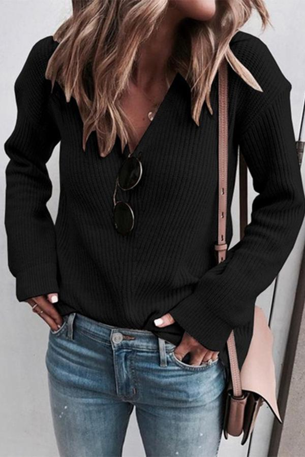 V Neck Long Sleeves Knit Sweater