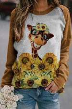 Smiling Cute Giraffe With Glasses Surrounded By Sunflower Print Raglan Sleeves Sweatshirt