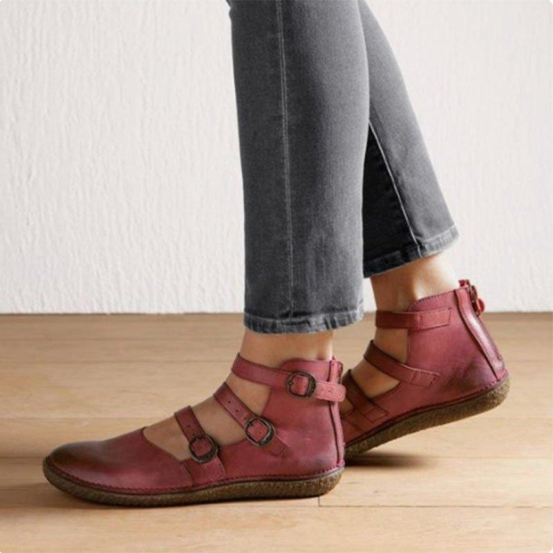 Closed Round Toe Buckle Zipper Flat Shoe