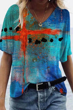 Artistic Cross Gradient Print V Neck Colorful T-shirt