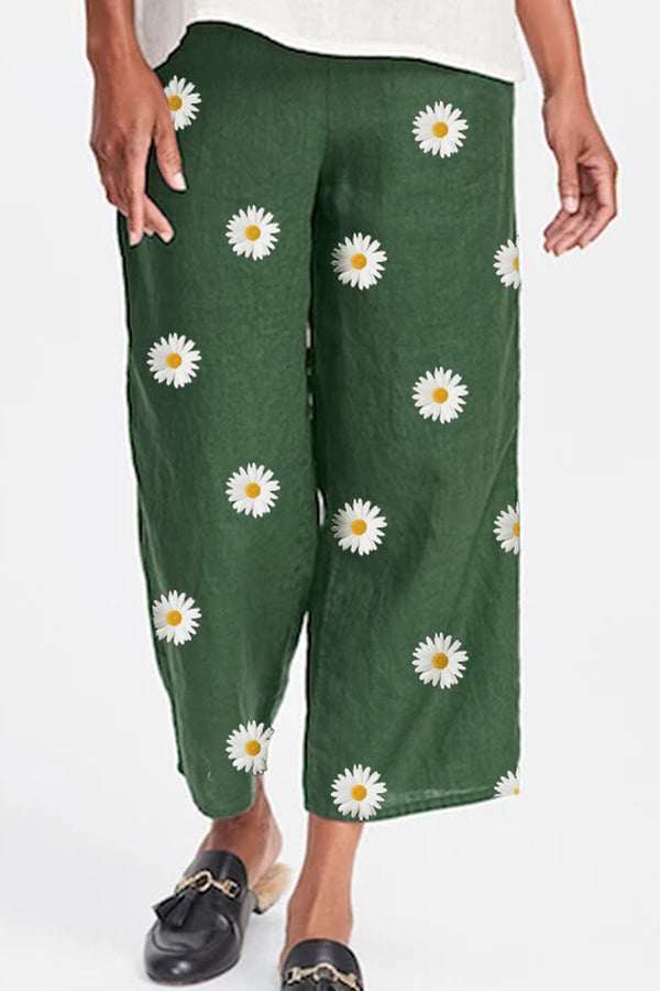 Holiday Daisy Print Wide Leg Pants