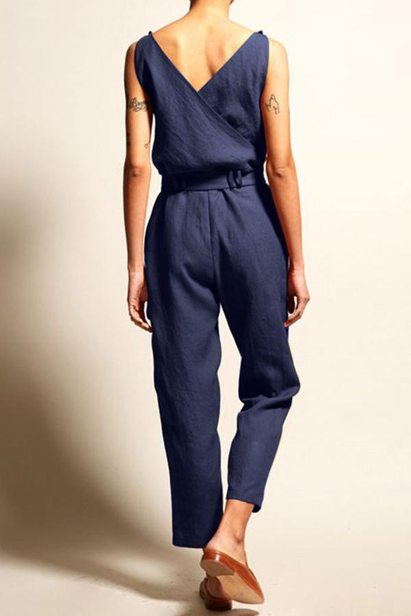 Casual Linen V-neck Sleeveless Jumpsuits With Belt
