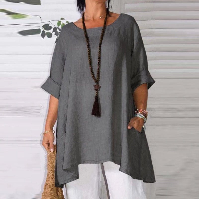 Irregular Dual Pocket Solid Linen Blouse