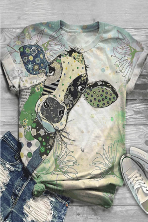 Colorful Cartoon Cow Floral Print Casual Paneled T-shirt
