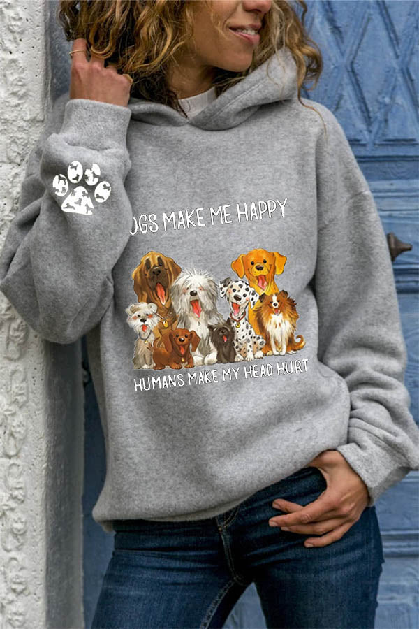 Dogs Make Me Happy Letter With Lovely Dogs Print Casual Hoodie