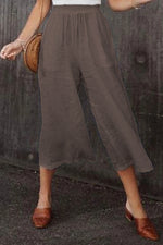 Solid Casual Mid Waist Loose Pants