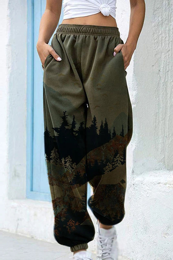 Retro Artistic Landscape Nature Mountain Forest Print Elastic Pants