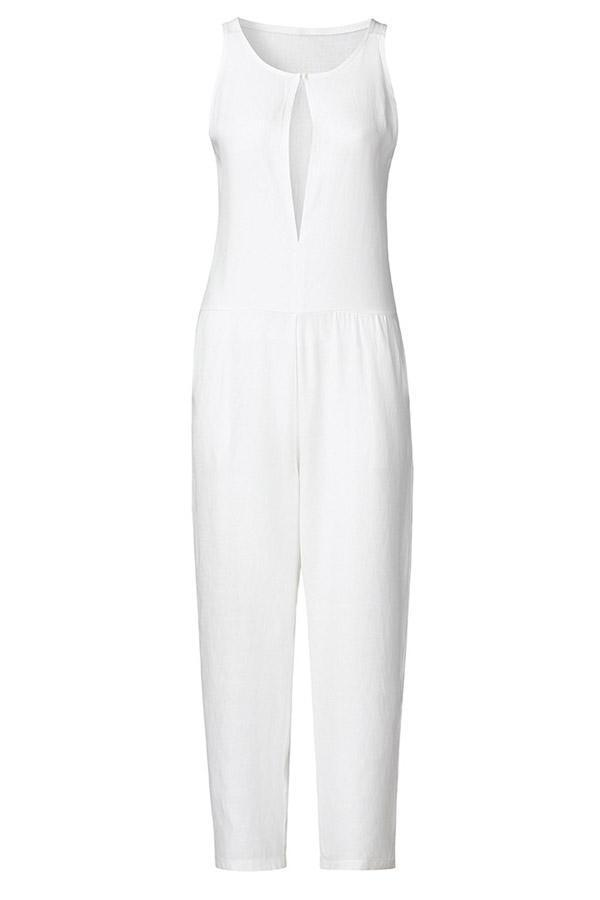 Sleeveless Solid Elegant Linen Jumpsuit