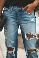 Casual Paneled Cutout Gradient Side Pockets Jeans