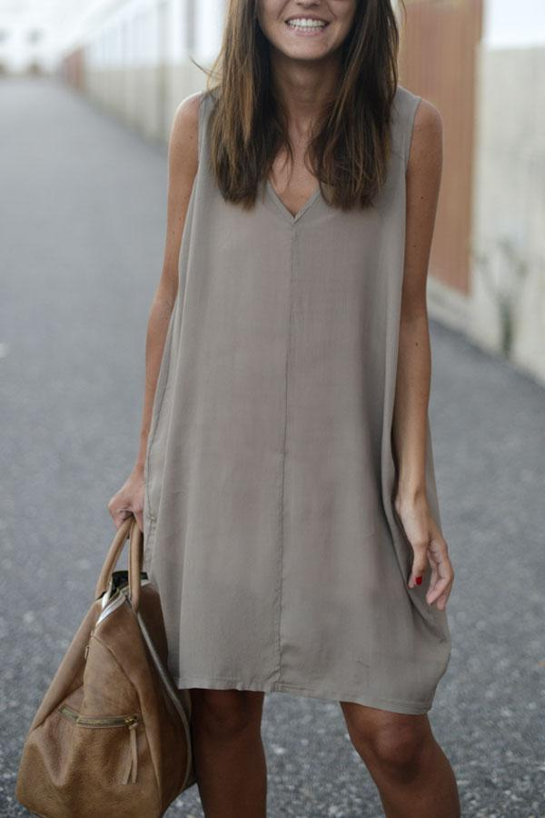 Casual V-neck High-low Hem Mini Shift Dress