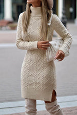 Elegant Solid Spiral Ribbed Tweed Turtleneck Slit Knitted Sweater Dress