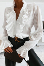 Elegant Solid Ribbed Ruffled Trim Paneled V-neck Blouse