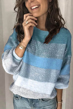 Gradient Jacquard Knitted Ribbed Balloon Sleeves Holiday Sweater