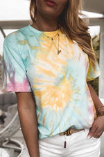 Gradient Print Paneled Crew Neck Casual T-shirt