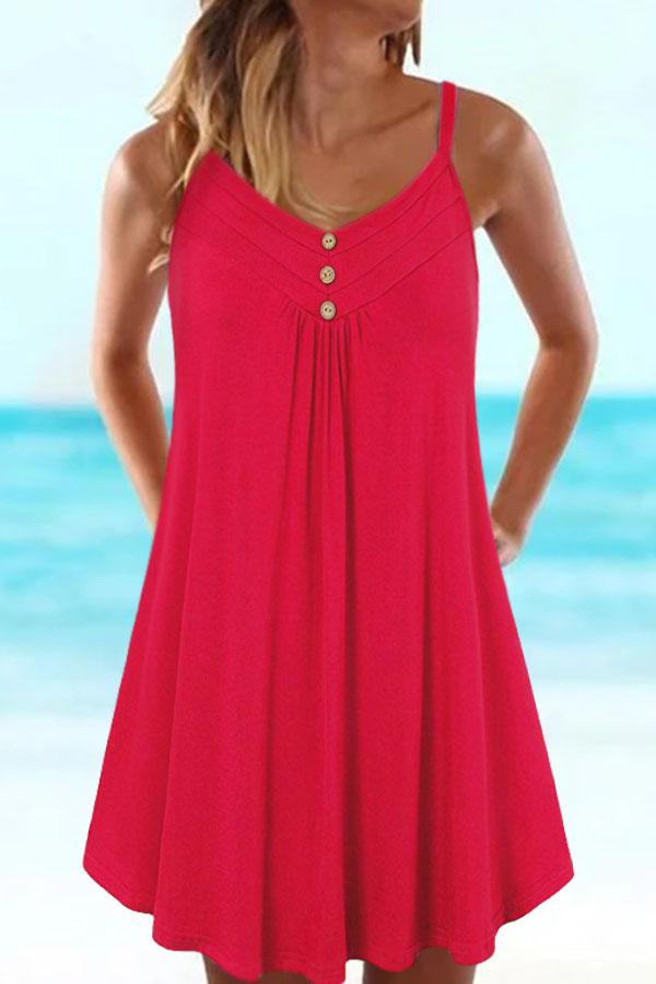 Paneled Solid Buttoned Sling Sleeveless Pleated Holiday Blouse