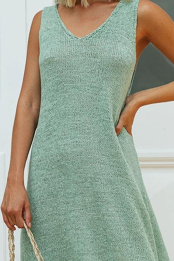 Casual Solid V-neck Sleeveless Midi Dress