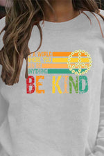 Be Kind Letter Rainbow Striped Print Daytime T-shirt