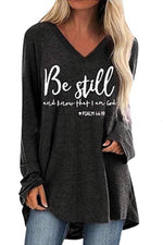 Casual Print V Neck Long Sleeves T Shirt