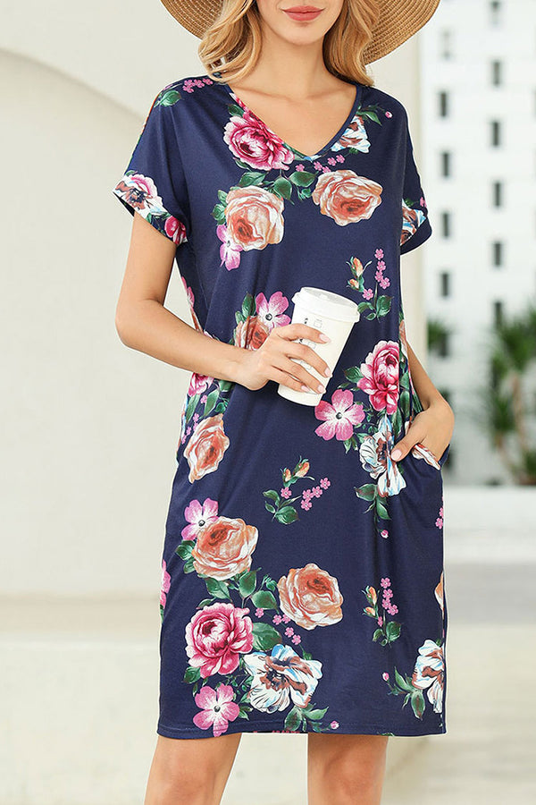 Casual Print V Neck Side Pockets Midi Dress