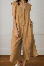 Solid Buttoned V-neck Casual Wide Leg Jumpsuit