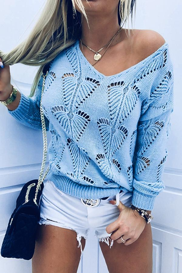 Hollow Out Knitted Ribbed Paneled Solid V-neck Holiday Sweater