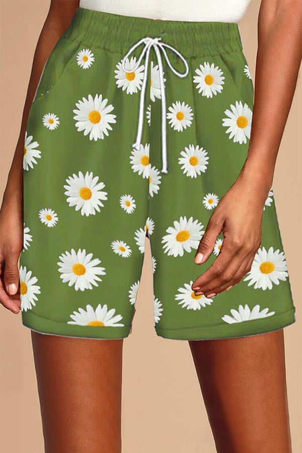 Daisy Print getäfelte Self-Tie-Taschen Holiday Short Pants