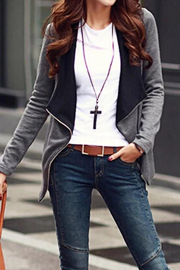 Long Sleeves Zipper Pockets Solid Coat